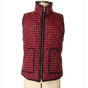 J.Crew Red Gingham Excursion Quilted Puffere Vest